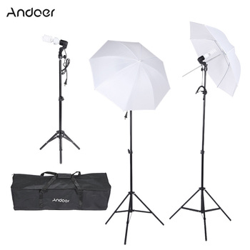 Andoer Photography Studio Light Kit Triple Lighting Kit with Bulbs E27 Swivel Socket Stand Umbrellas Carrying Case