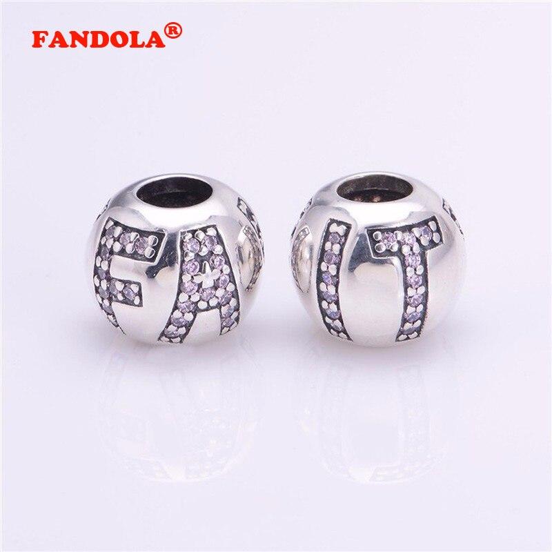 a8a3e6a5ae Serve para Charms Pandora Pulseiras Fé Contas com Rosa CZ 100% Authentic  925 Sterling Silver Jóias Frete Grátis