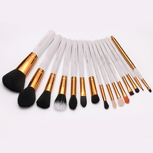 Pro 15pcs Makeup Brushes Set Powder Foundation Eyeshadow Eyeliner Lip Brush Tool White and Gold
