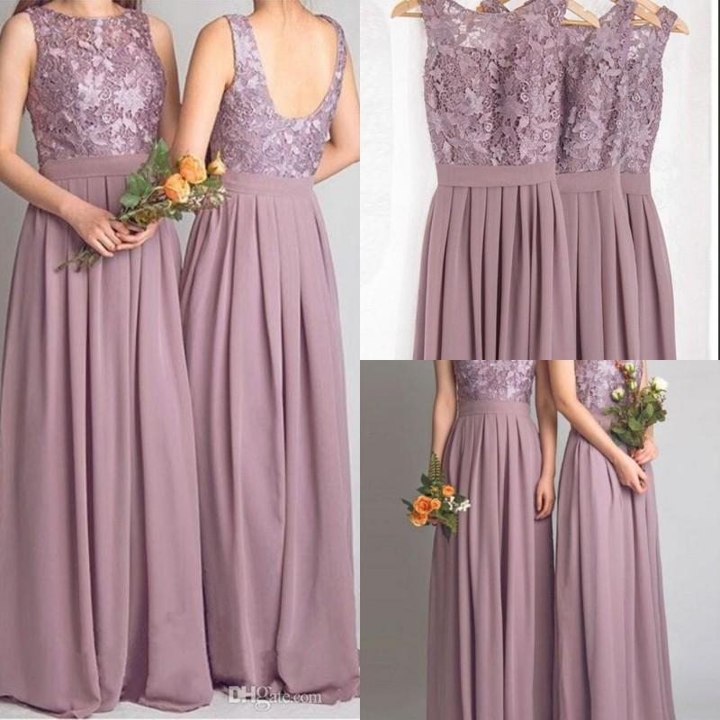 abf6f45f0f 2016 floor length dusty purple cheap lace bridesmaid dress hot sale ...