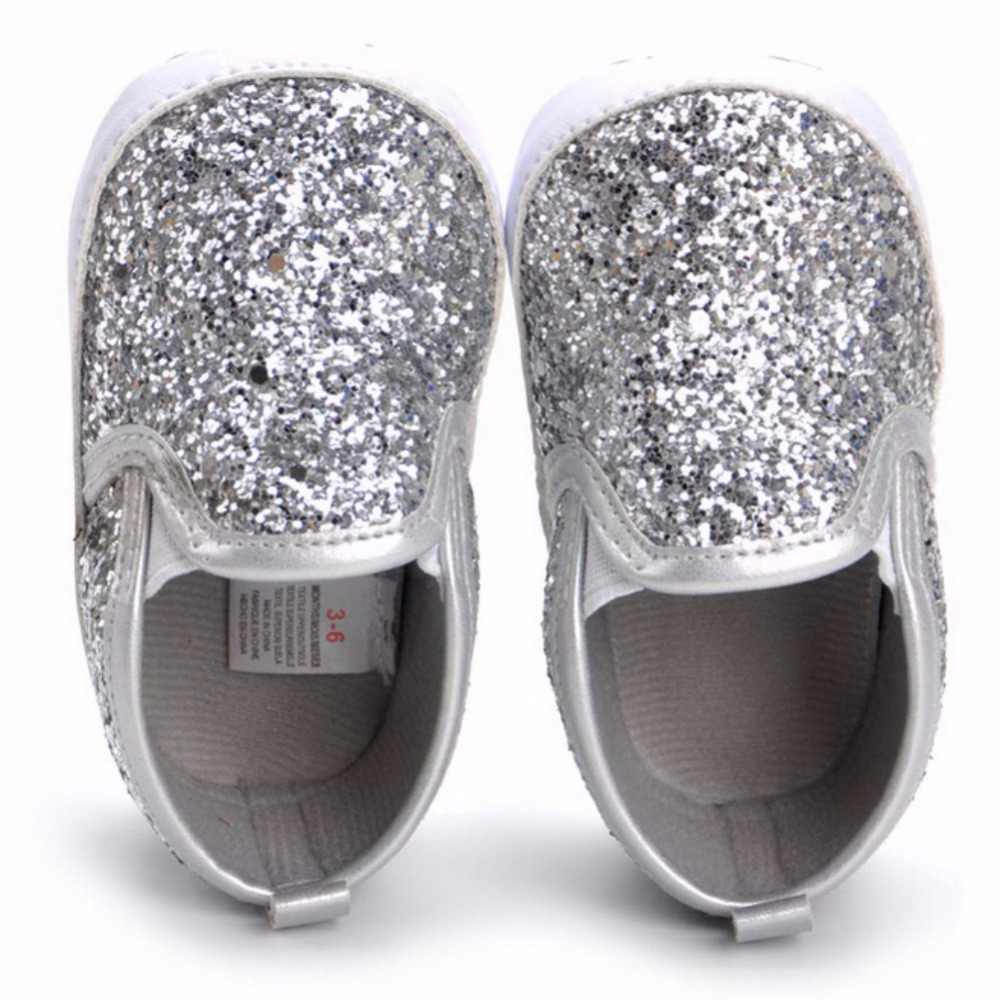 2017 Autumn Toldder Girl Baby Girls' Bling Loafers Shoes Silver baby children shoes first walkers 0-18 M