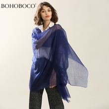 BOHOBOCO 2017 hot sale autumn winter plain weave solid color 200s cashmere infinity scarf lady thin soft pashmina shawl