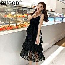 98b5a1bcb1 RUGOD couche femmes robe col en v élégant solide midi doux style coréen  mode offre spéciale été robe sangle bohème chic modis ki.