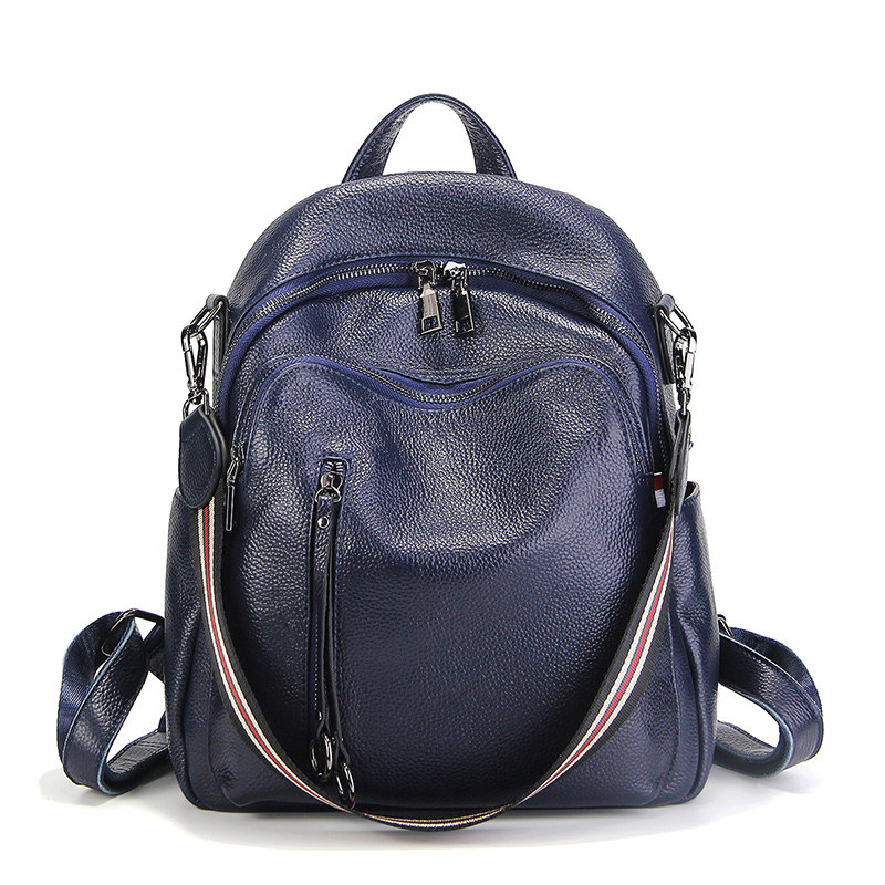 Nesitu New Fashion Black Blue Red Genuine Leather Women Backpacks Female Girl Backpack Lady Travel Bag Shoulder Bags #M88039 2023 a european fashion female multifunctional shoulder bag headset backpacks travel bag women genuine leather backpack