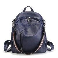 Nesitu New Fashion Black Blue Red Genuine Leather Women Backpacks Female Girl Backpack Lady Travel Bag Shoulder Bags #M88039