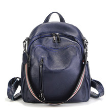 Nesitu New Fashion Black Blue Red Genuine Leather Women Backpacks