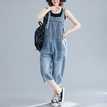 Denim Wash Overall For Summer Lady Women Fashion Street Blue Sleeveless Loose Jeans Jumpsuit Calf-Length Pants Rompers