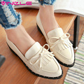 VINLLE 2017 Woman Pump Square Low Heel Pointed Toe Slip on Spring Autumn Women Shoes Patent Leather British Shoes Big Size 34-43