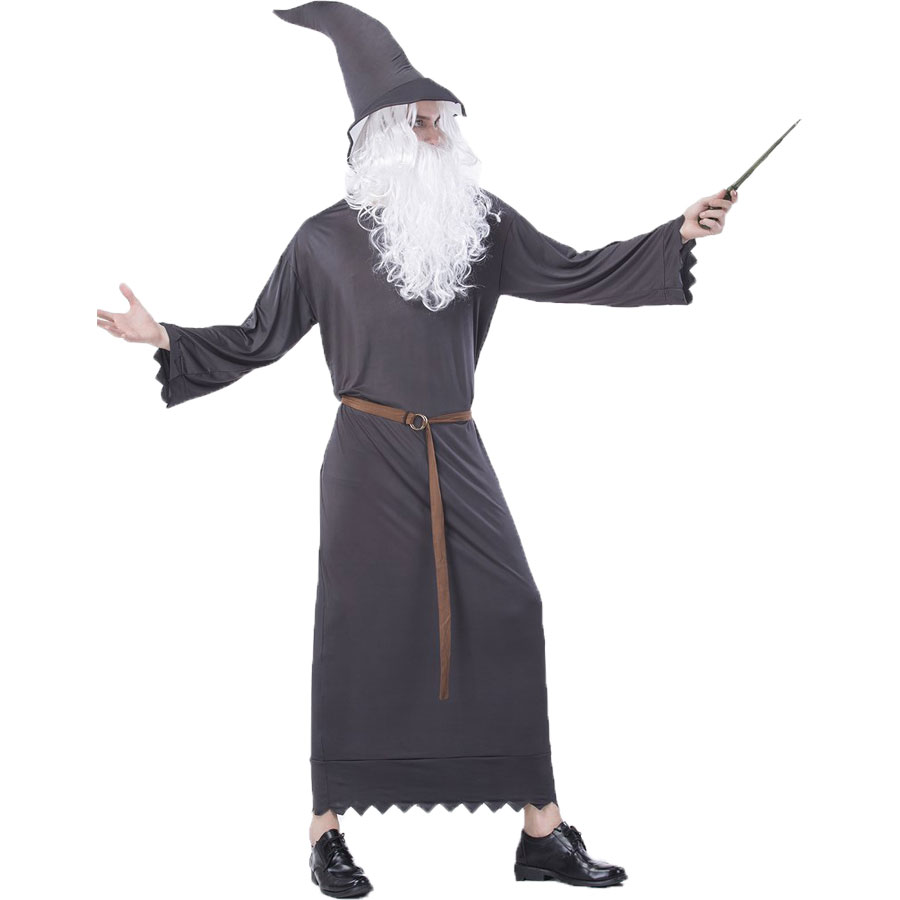 Umorden Halloween Men Wizard Magician Costume Hobbit Cosplay Gandalf The Grey Lord of the Rings Costumes Gray Robe Gown
