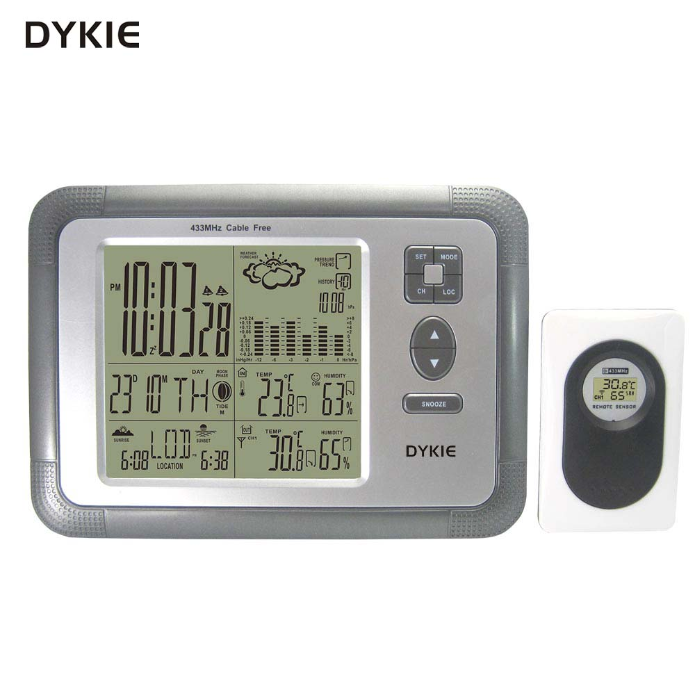 Free Shipping DYKIE Digital Wireless Weather Station with Alarm Clock Dual alarm Indoor Outdoor Thermometer Hygrometer Barometer цена и фото