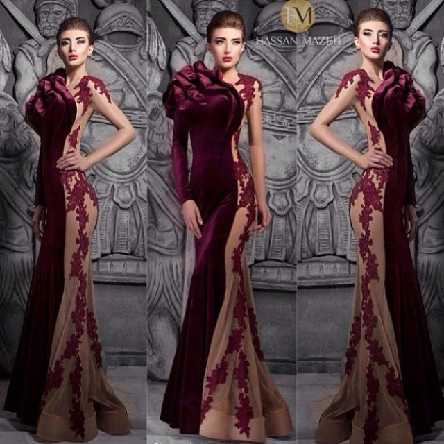 Custom Made Evening Dresses Crew Neckline Lace Appliques Mermaid Velvet Wine Red Prom 2015 New