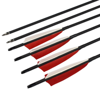 30 Inch Roll Fiberglass Arrows With 5 Turkey Feather Red Color For Archery Recurvebow Compound Bows