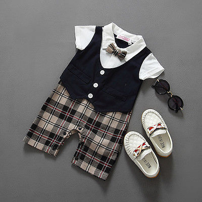 Newborn BABYGROW Baby Boy Clothes New Christening Formal Party Bodysuit Outfit Gift short Sleeve Summer 6 9 12 18 24 Monthes