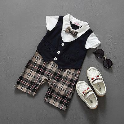 Newborn BABYGROW Baby Boy Clothes New Christening Formal Party Bodysuit