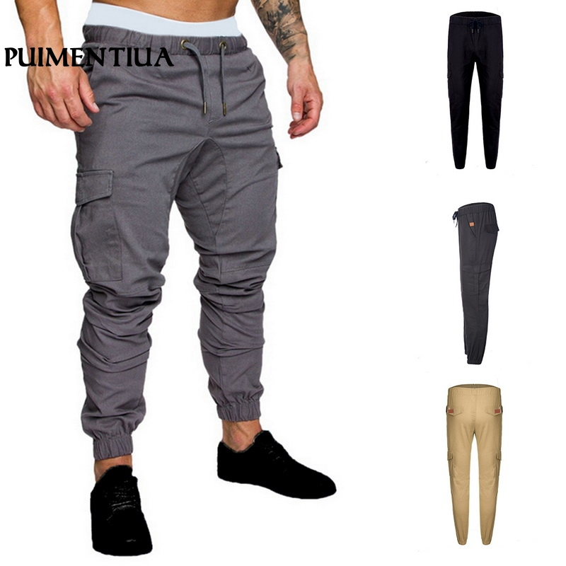Puimentiua 2019 Men's Pants Hip Hop Pants Male Multi-Pocket Elastic Waist Cargo Drawstring Sweatpants Homme Fitness Trousers