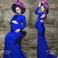 Blue Pregnant Photography Props Elastic  Backless Maternity Trailing Dress Photo Shoot Baby Shower Gift Studio Clothing Size L