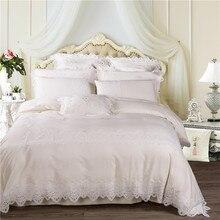 Белый кремовый роскошный Египетский Хлопок Кружева Свадьба Королевское постельное белье для принцессы набор королева король размер простыня набор пододеяльник наволочки