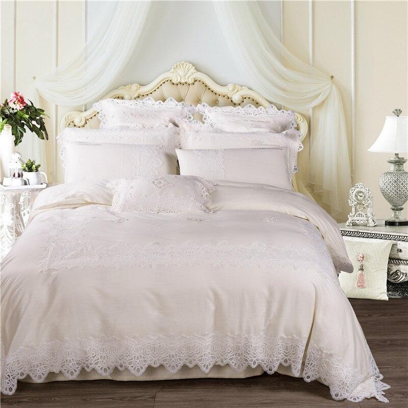 White Cream Luxury Egyptian Cotton Lace Wedding Royal