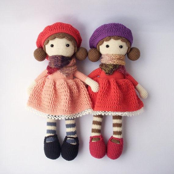 Crochet doll Aria  Amigurumi Doll rattle toyCrochet doll Aria  Amigurumi Doll rattle toy