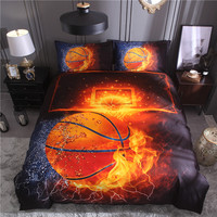 Bonenjoy 3D Bed Set Basketball and Fire Duvet Cover Sets Football Single Size Bed Cover Full Size Bed Linen China Bedding Kit