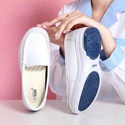 Женская обувь из натуральной кожи для медсестер, слипоны на плоской подошве, Moccains, женские белые лоферы с круглым носком, обувь на плоской