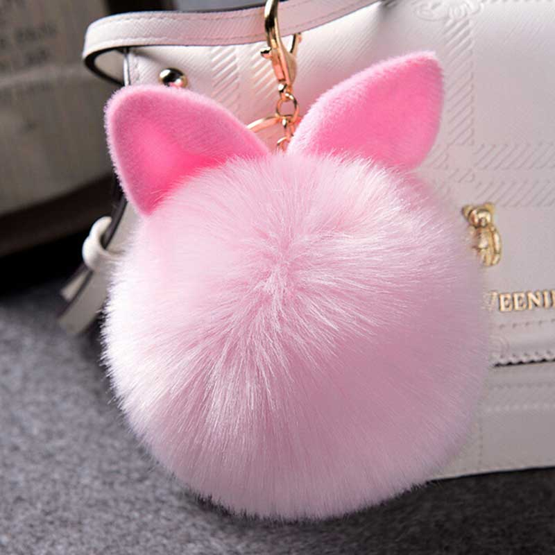 все цены на Zoeber Cute Fluffy Faux Rabbit Ear Fur Ball Keychain KeyHolder Pompom Artificial Rabbit Fur Key Chain Women Car HandBag Keyring