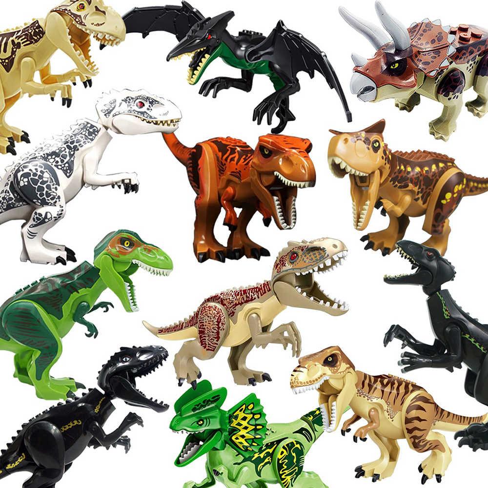 Venda quente Mundo Jurássico Dinossauros Tiranossauro Rex Building Blocks Brinquedos Crianças Legoings Triceratops Dinosaur Pterosauria presente