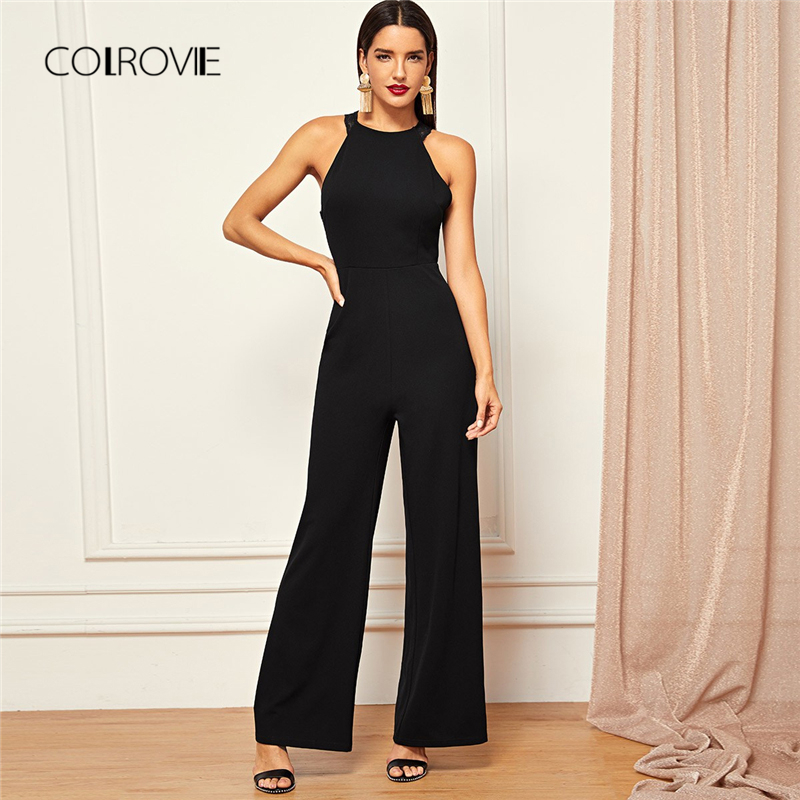 COLROVIE Black Solid Sheer Backless High Waist Wide Leg Elegant Lace   Jumpsuit   Romper Women 2018 Autumn Sleeveless Sexy   Jumpsuits