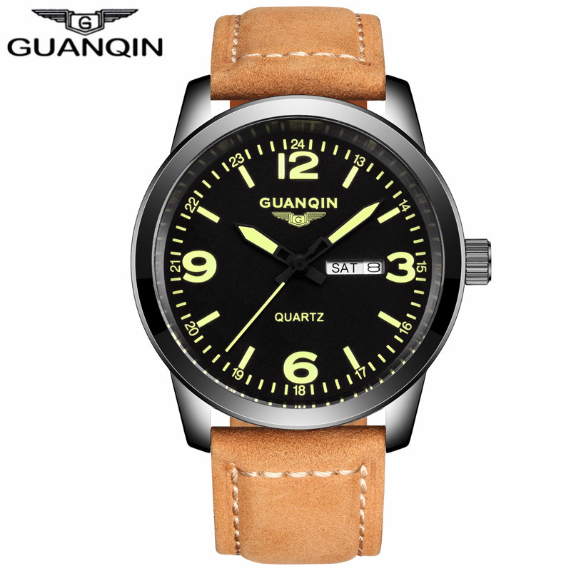 ФОТО GUANQIN GS19036 Relogio Masculino Men Military Sport Wristwatch Mens Watches Top Brand Luxury Leather Strap Montre Homme