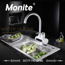 RU Electric Hot Faucet Water Heater Electric Water Heating Tankless Kitchen Faucet Digital Display Instant Water Tap Deck Mount
