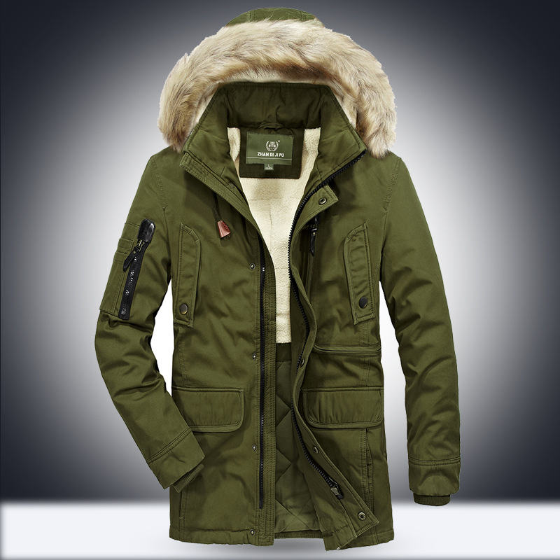 Afs Jeep 2018 Brand New Winter Coat male   Parka   Men Thick Warm Wool Liner Hooded Collar Plus Size M-5XL Winter Jacket Men Coat