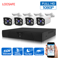 LOOSAFE 4CH система видеонаблюдения 2MP HDMI AHD CCTV AHD Видеонаблюдение ИК наружная камера видеонаблюдения DVR 4 шт. комплект камеры безопасности