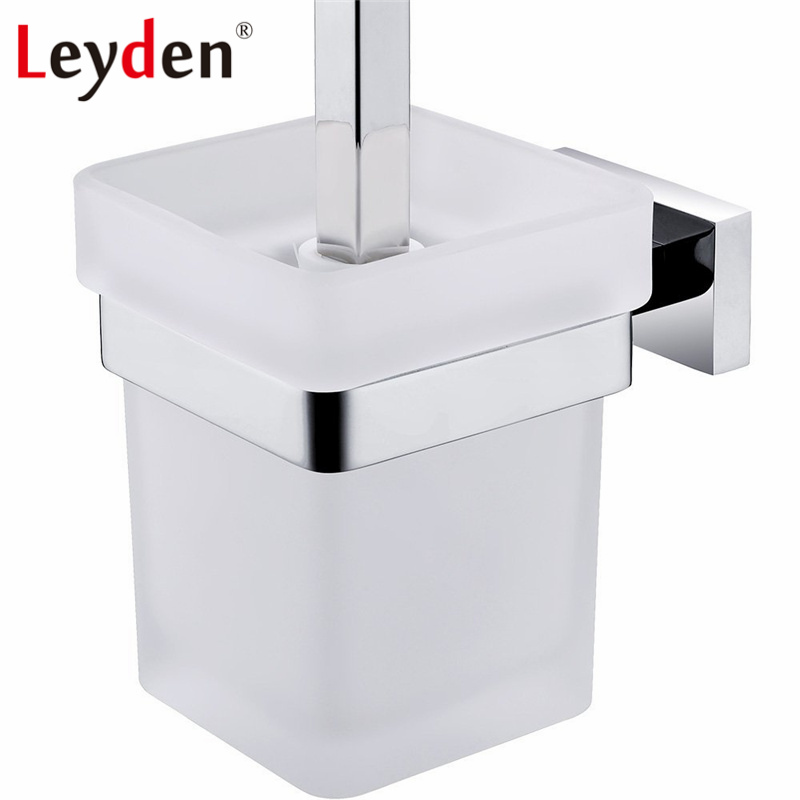 Leyden SUS 304 Stainless Steel Toilet Brush Holder WC Brush Holder Wall Mounted Square Toilet Brush Holder Bathroom Accessories brand new toilet brush for cleaning black color with stainless steel wall mounted brush holder chromed finish