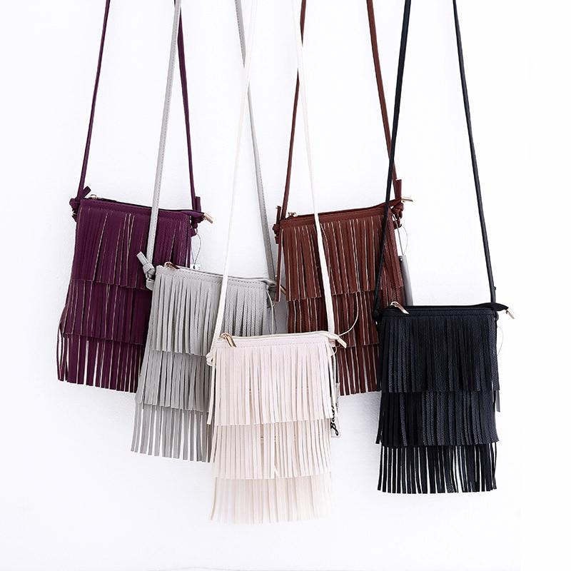 Solid Mini Fashion Tassel Women Bags Messenger Crossbody Bag Ladies Small Handbag PU Leather Female Single Shoulder Phone Bag