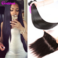 Brazilian Straight Hair With Frontal Closure Virgin Straight Hair 3 Bundles With 13*4 Pre-Plucked Ear To Ear Lace Frontals Deal