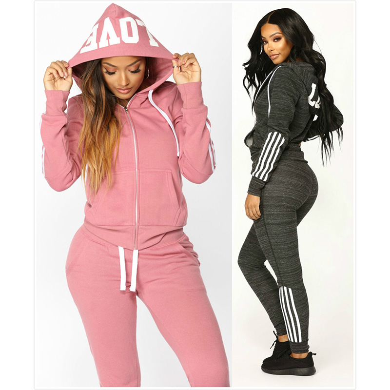 ZOGAA Brand 2 Piece Sets Womens Outfits Solid Color Zipper Tracksuit Two Piece Set Hoodies Sweatshirts with Pant Tracksuit Women