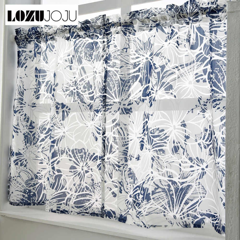 LOZUJOJU Free shipping Short curtains kitchen rod cafe window made door modern tulle window sheer ready set pocket treatment