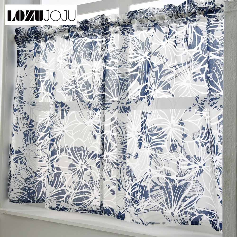 US $5.51 49% OFF|LOZUJOJU Free shipping Short curtains kitchen rod cafe  window made door modern tulle window sheer ready set pocket treatment-in ...