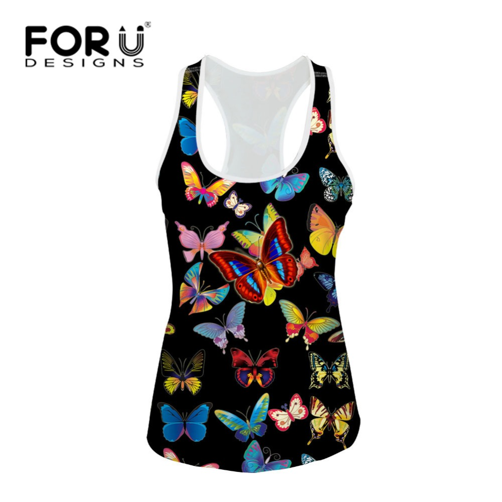 667393cf1c325 Aliexpress.com   Buy FORUDESIGNS Summer Sexy Low cut Basic T shirts Tank Top  Sleeveless Pretty Butterfly Camisole Tops Women s Vest short T shirt from  ...