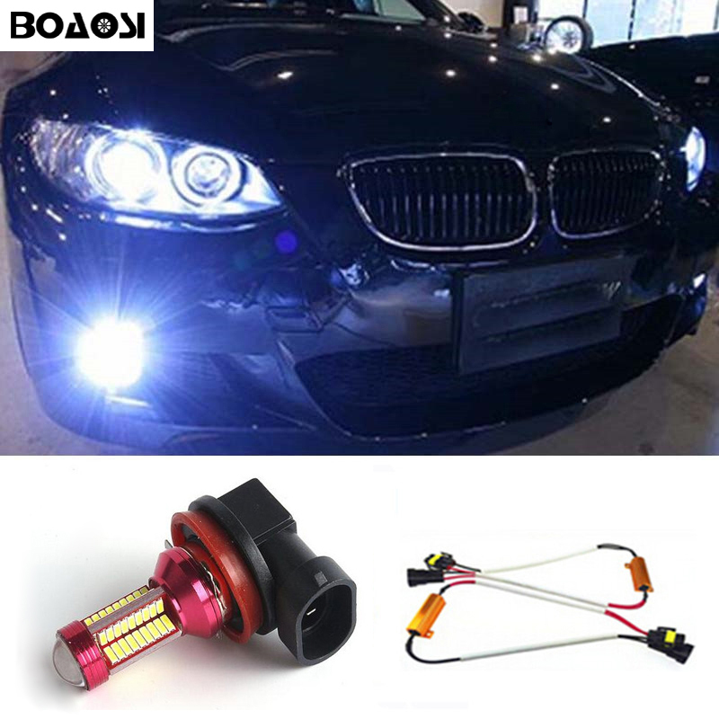 BOAOSI 1x H8 H11 LED Fog Light Driving Bulbs No Error for BMW E63 E64 E90 E91 E92 E93 328i 328xi X5 E53 E70 E46 325i 330i X3 E83 boaosi 1x h11 high power led light 4014 33smd 30w fog light driving drl car light no error for bmw e71 x6 m e70 x5 e83 f25 x3