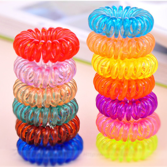 10pcs/lot Telephone Cord Elastic Ponytail Holders Hair Ring Scrunchies For Girl Rubber Band Tie Free Shipping