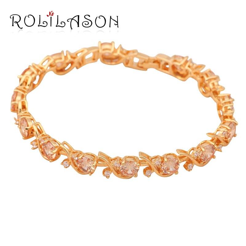 ROLILASON Champagne AAA Zrcon Crystal font b Gold b font Tone font b Bracelets b font