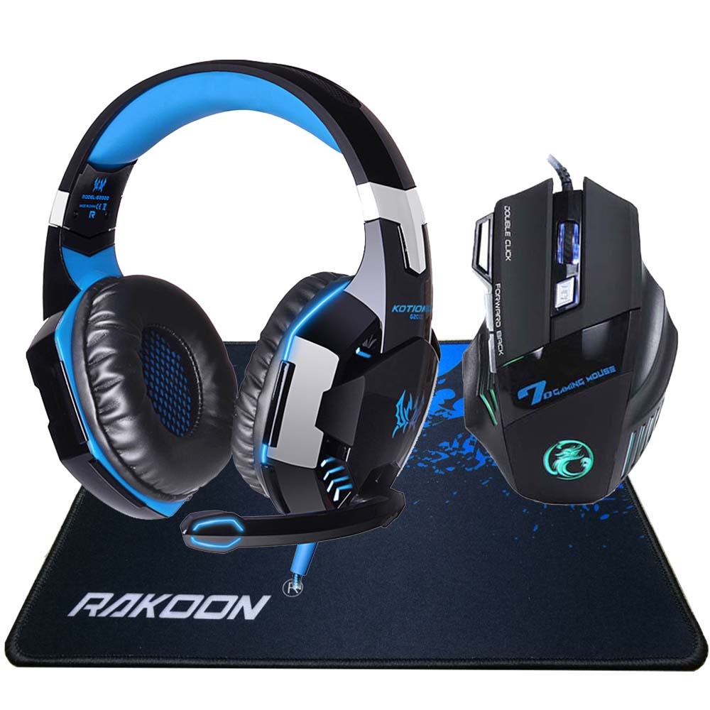 In Magazzino 5500 DPI X7 Pro Gaming Mouse + Hifi Cuffia Pro Gaming Gioco Auricolare + Gift Big Gaming Mousepad per Pro Gamer