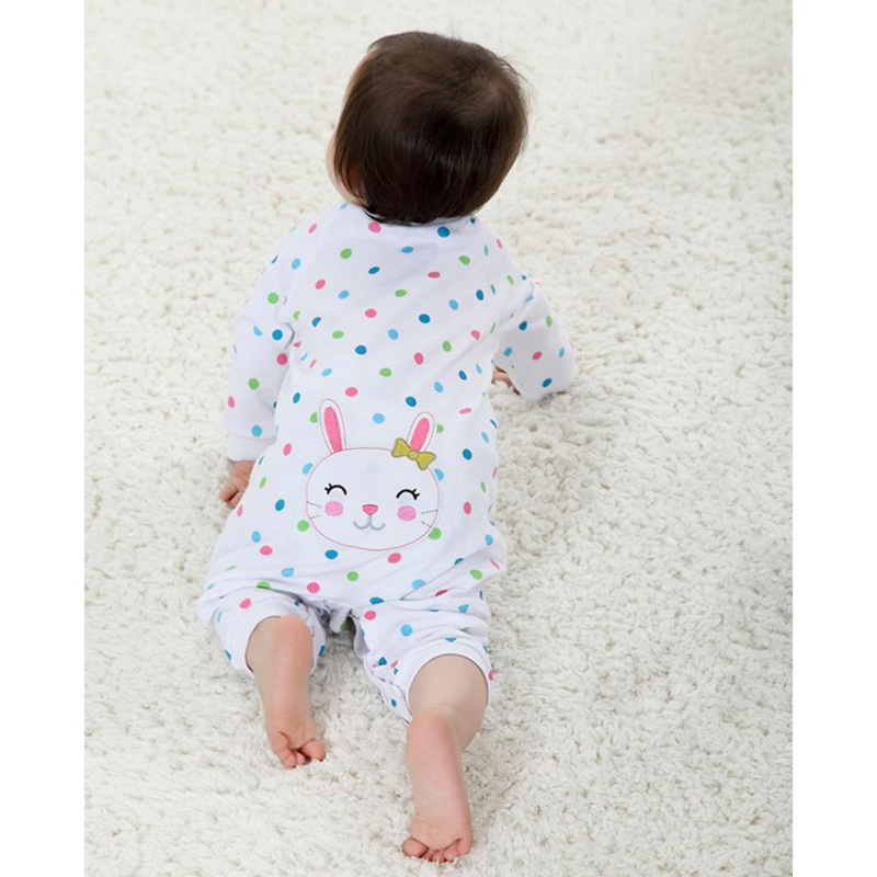 Size 6M Rabbit Polka Dots White Baby Girl Romper Long Sleeve Jumpsuit Roupa Infantil Macacao Bebe Kids Clothes Infant Clothing penguin fleece body bebe baby rompers long sleeve roupas infantil newborn baby girl romper clothes infant clothing size 6m