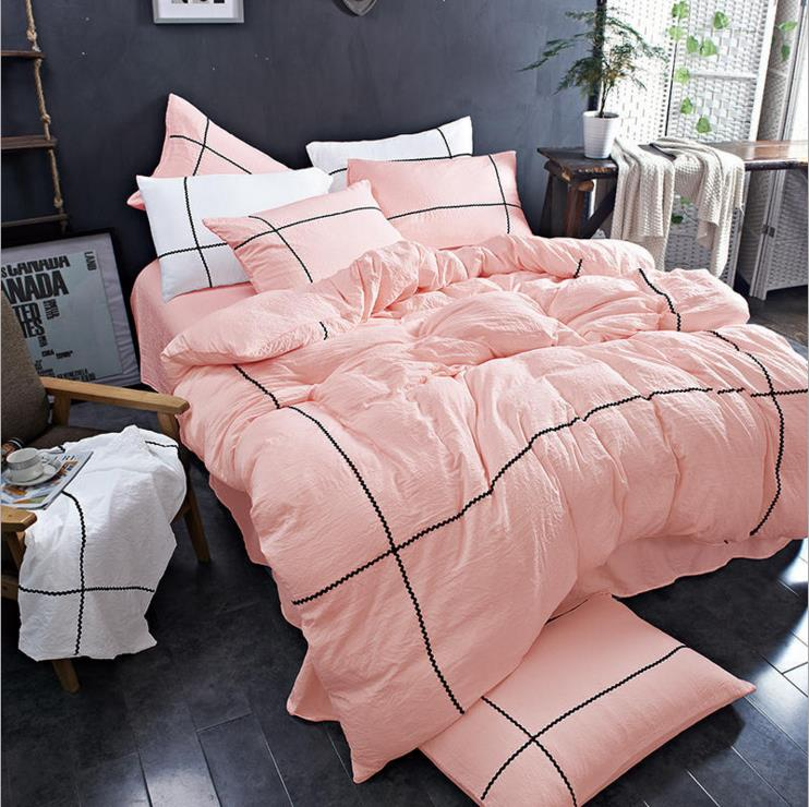 KALAMENG VS Secret Pink Water Washed Cotton Duvet Cover Pillowcase Pink Victoria Princess Pink/Blue/Green Comforter Bedding set