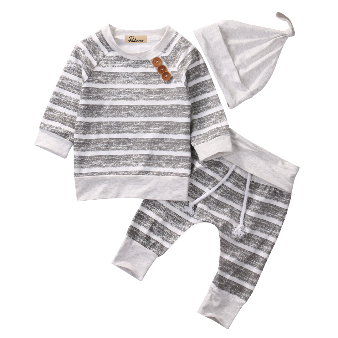 Helen115 Casual Newborn Baby Boys Girls Full Sleeve Striped T-shirt+Pants+Hat 3pcs Set 0-18M ...