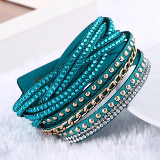 Women's Leather Rhinestone Bracelet