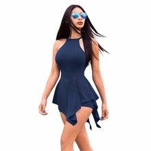 Sexy Halter Backless Sleeveless Mini Dress Women Casual Solid Sheath Zipper Dresses Female Above-knee Dress Summer Beach 2019