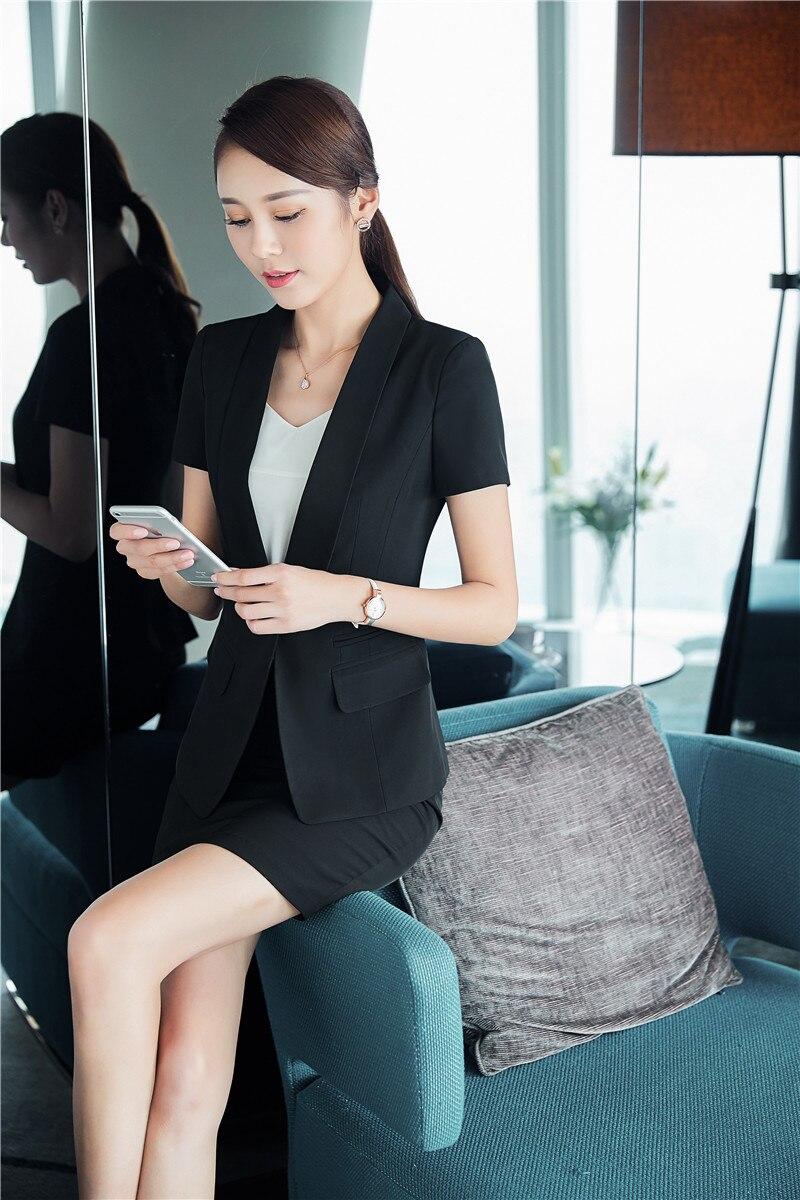 Neuheit Schwarz Sommer Berufs Kurzarm Blazer Damen Business Arbeit Tragen  Blazer Mantel Weibliche Tops Kleidung Plus Größe 3XL in Neuheit Schwarz  Sommer ... d684ea3381