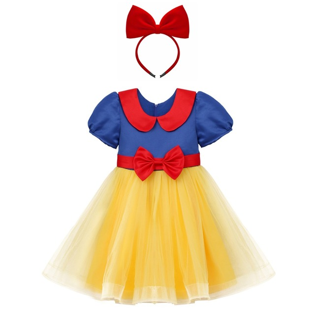 e8020a8be12 Girls Snow White Fancy Dress Up Costume Baby Kids Birthday Outfit Tutu  Princess Dress + Headband 2pcs Toddler Girl Clothes Set